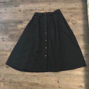 Vintage Button Down Black Skirt